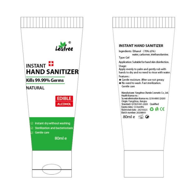 Handgel tube 80ml Desinfecterend (75% alcohol)
